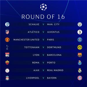 Kết quả bốc thăm vòng 1/8 Champions League 2