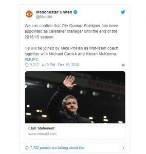 Man Utd thông báo cựu danh thủ Solskjaer thay Mourinho 3