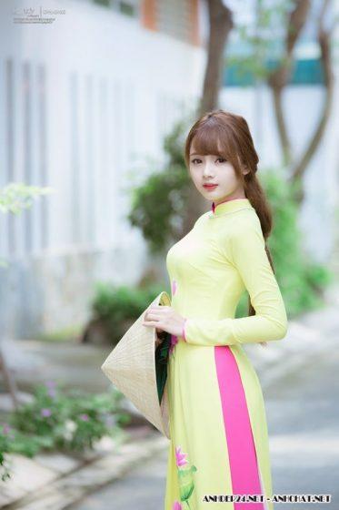 Hình nền gái xinh áo dài, ảnh gái đẹp hot girl dễ thương 27