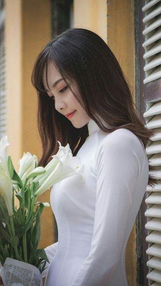 Hình nền gái xinh áo dài, ảnh gái đẹp hot girl dễ thương 29